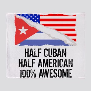 Half Cuban Half American Awesome Throw Blanket