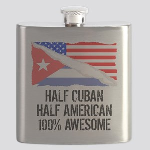 Half Cuban Half American Awesome Flask