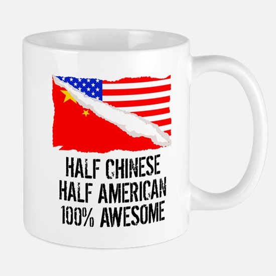 Half Chinese Half American Awesome Mugs