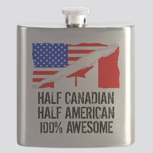 Half Canadian Half American Awesome Flask