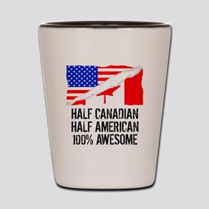 Half Canadian Half American Awesome Shot Glass