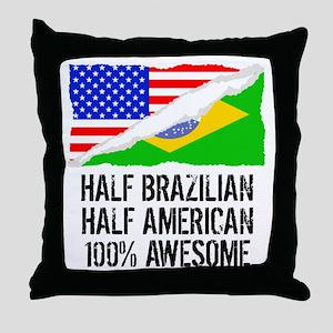 Half Brazilian Half American Awesome Throw Pillow