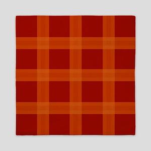 Red Orange Plaid Pattern Queen Duvet