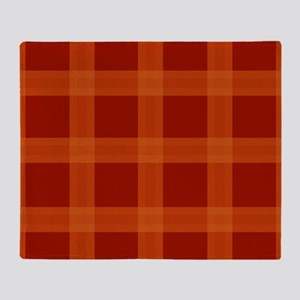 Red Orange Plaid Pattern Throw Blanket