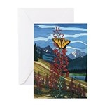 Canadian Landscape Butterfly Art Greeting Card