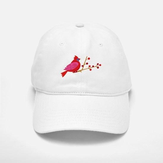 Cardinal On Branch Baseball Baseball Baseball Cap