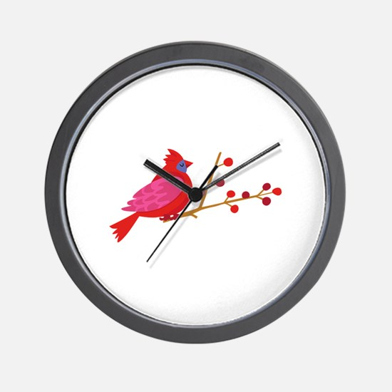 Cardinal On Branch Wall Clock