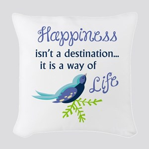 Happiness Is Woven Throw Pillow