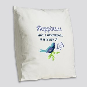 Happiness Is Burlap Throw Pillow