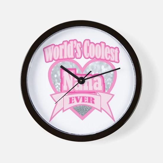 pink world's coolest nana Wall Clock