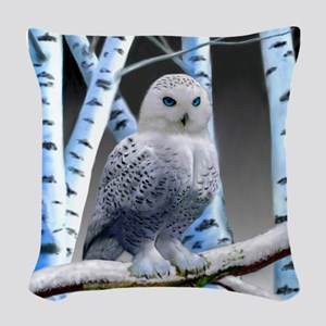 BLUE-EYED SNOW OWL Woven Throw Pillow