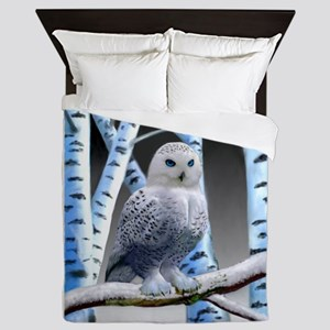 BLUE-EYED SNOW OWL Queen Duvet