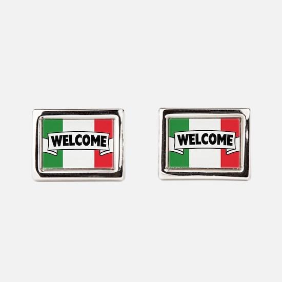 Italian Flag Welcome Rectangular Cufflinks