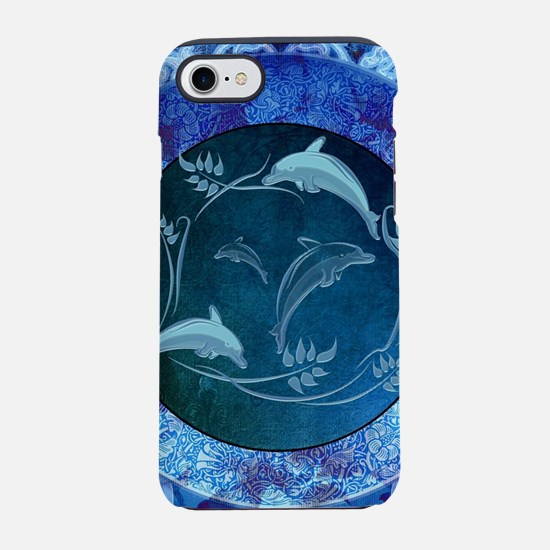 Funny dolphin with flowers, blue colors iPhone 8/7