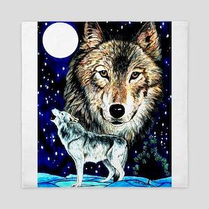 Timber wolf fantasy1 Queen Duvet