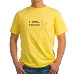 I Love Unicorns Yellow T-Shirt