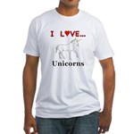 I Love Unicorns Fitted T-Shirt