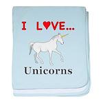 I Love Unicorns baby blanket