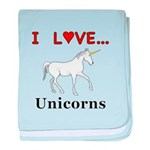 I Love Unicorns baby blanket