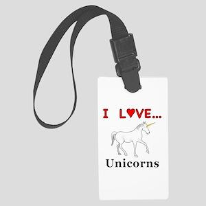 I Love Unicorns Large Luggage Tag