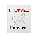 I Love Unicorns Throw Blanket