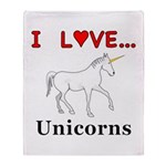I Love Unicorns Throw Blanket