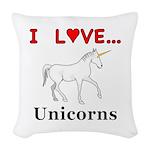 I Love Unicorns Woven Throw Pillow