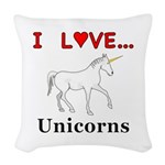 I Love Unicorns Woven Throw Pillow