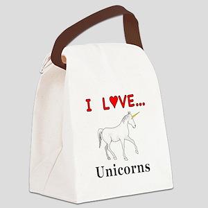 I Love Unicorns Canvas Lunch Bag
