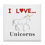 I Love Unicorns Tile Coaster