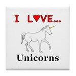 I Love Unicorns Tile Coaster