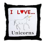 I Love Unicorns Throw Pillow