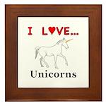 I Love Unicorns Framed Tile