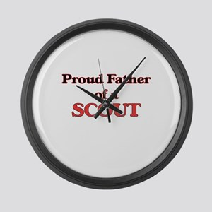 Proud Father of a Scout Large Wall Clock