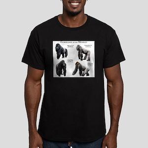 Gorillas of the World Men's Fitted T-Shirt (dark)
