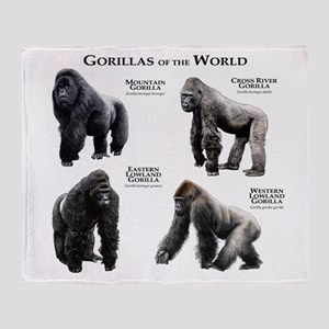 Gorillas of the World Throw Blanket