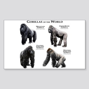 Gorillas of the World Sticker (Rectangle)