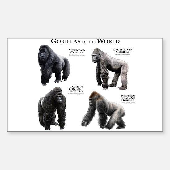 Gorillas of the World Sticker (Rectangle)