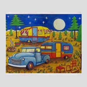 Glamper Camper Vintage Truck Throw Blanket