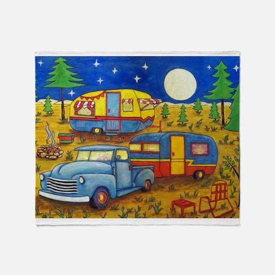 Glamper Camper Vintage Truck Throw Blanket