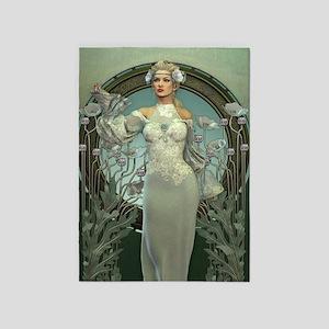Art Nouveau White Lady 5'x7'Area Rug