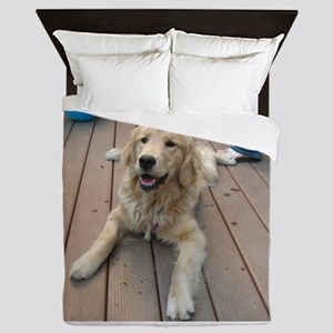 golden retriever puppy Queen Duvet