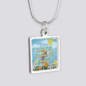 Dancing Makes Me Happy Silver Square Necklace