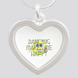 Dancing Makes Me Happy Silver Heart Necklace