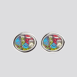 Monsters and Aliens Oval Cufflinks