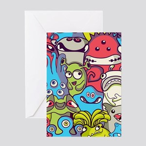 Monsters and Aliens Greeting Cards