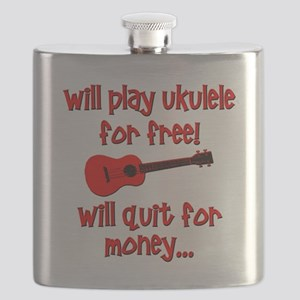 funny red ukulele Flask
