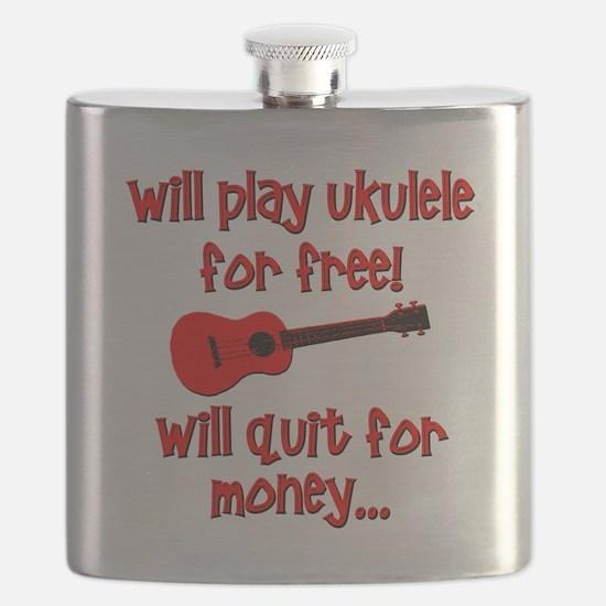 funny red ukulele Flask