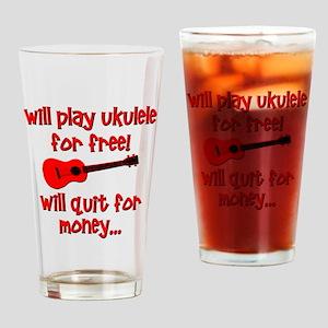 funny red ukulele Drinking Glass