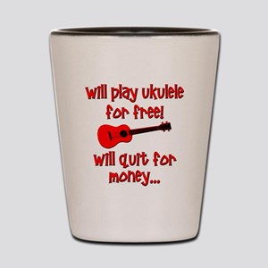 funny red ukulele Shot Glass
